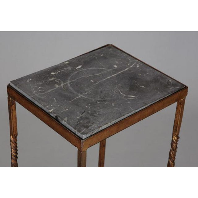 Italian Italian Gilt Iron Statue Stand With Marble Top For Sale - Image 3 of 6