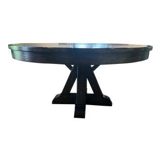 Dark Brown Distressed Pedestal Table For Sale