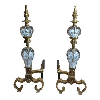 "Pair of Antique Brass and Bronze Glass Andirons with ""St Clair"" Crystal For Sale"