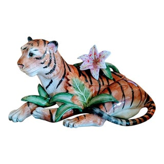 Fitz and Floyd Ceramic Laying Tropical Hibiscus Tiger Server For Sale