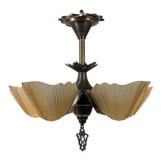 1930s Vintage Restored Art Deco Chandelier Flush Mount Light For Sale