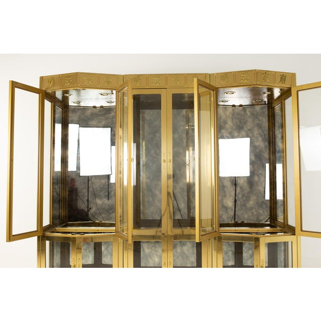 Mastercraft Mid Century Brass Display Cabinet - Set of 3 For Sale - Image 12 of 13