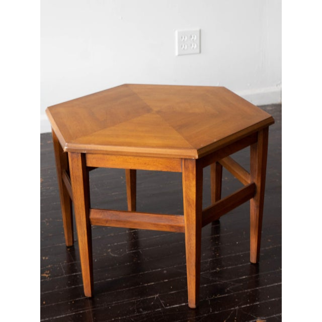 Drexel Heritage Vintage MCM Hexagon Side Tables by Drexel Heritage - a Pair For Sale - Image 4 of 6