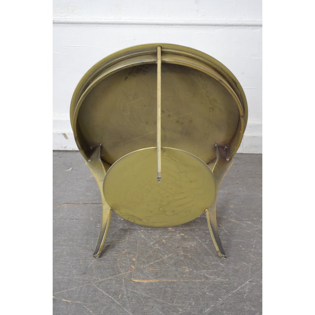Studio Custom Crafted Pair of Brushed Steel Gold Finish Round Side Tables - Image 4 of 10