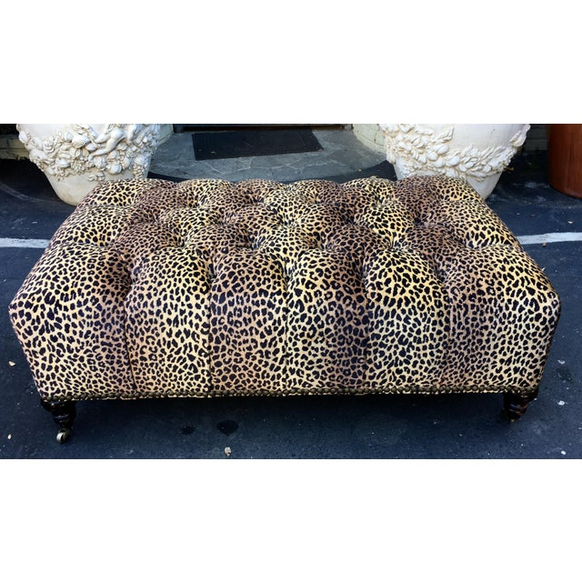 2010s Superb Chelsea House Designer Cheetah Leopard Tufted Ottoman For Sale - Image 5 of 5