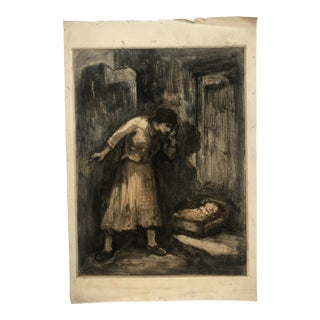 """Mother and Child"" Barbizon School Monotype by Eugene Higgins, C. 1910 For Sale"