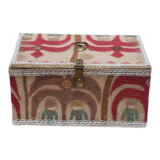 Suzani-Upholstered Tabletop Trunk For Sale