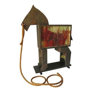 American Studio Folk Art Trojan Horse Sculpture For Sale