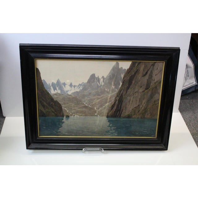 Extremely realistic gouache illustration of the Alps by Diemer. Signed and dated 1912. Gouache in great condition; minor...