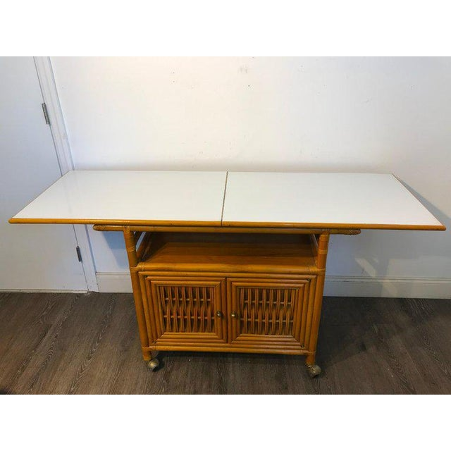 Midcentury Rattan Expandable Bar Cart For Sale - Image 12 of 13