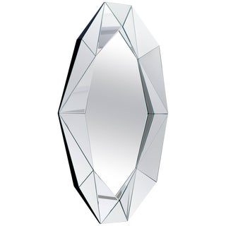 Silver Large Diamond Decorative Mirror For Sale