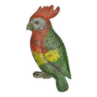 Antique Hand Painted Green Red Yellow Cast Iron Cockatoo Parrot Trinket Dish For Sale
