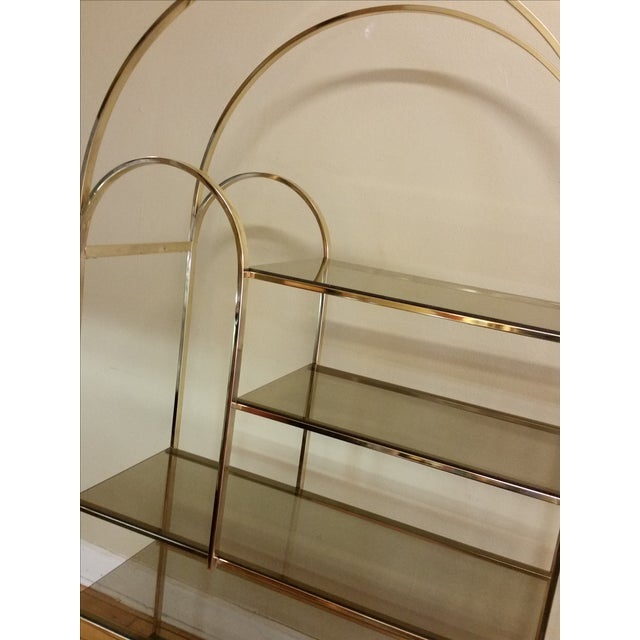 Hollywood Regency Double Waterfall Brass Etagere - Image 4 of 10
