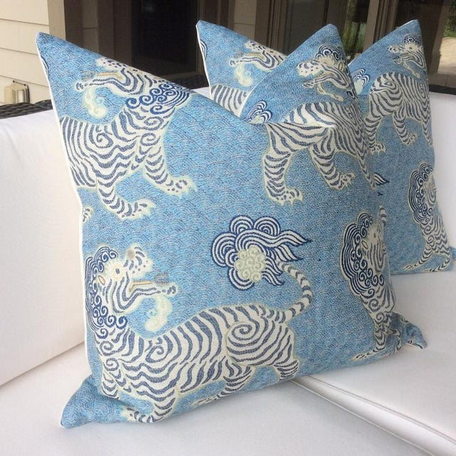 Tibetan Dragon Chinoiserie Blue & White Pillows - a Pair For Sale - Image 4 of 4
