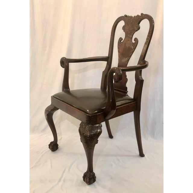 Late 19th Century Pair Antique 19th Century English Mahogany Well-Carved Armchairs For Sale - Image 5 of 6