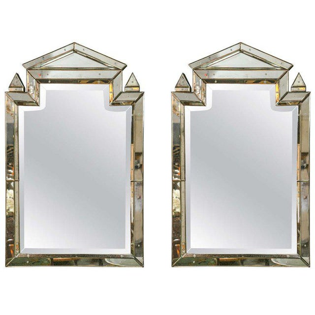 Glass 1990s Piedmont Hollywood Regency Style Distressed Antiqued Venetian Mirrors - a Pair For Sale - Image 7 of 7