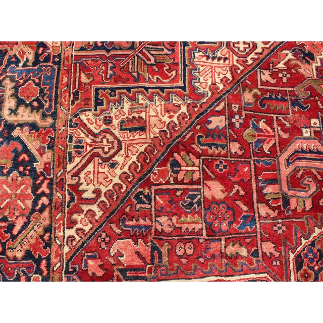 1950s Vintage Persian Heriz Red Medallion Rug - 8′ × 11′9″ For Sale In Atlanta - Image 6 of 13