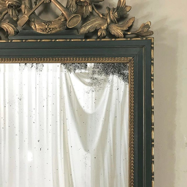 Wood 19th Century Italian Carved Wood Painted Marble Top Console With Mirror For Sale - Image 7 of 13