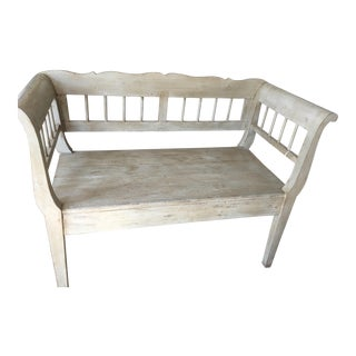 Wax Over Grey Painted Bench From England For Sale