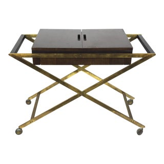 1960s Vintage Widdicomb Brass X Base Bar or Serving Cart For Sale