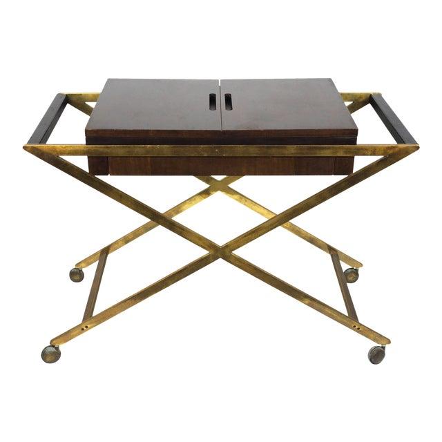 1960s Vintage Widdicomb Brass X Base Bar or Serving Cart For Sale