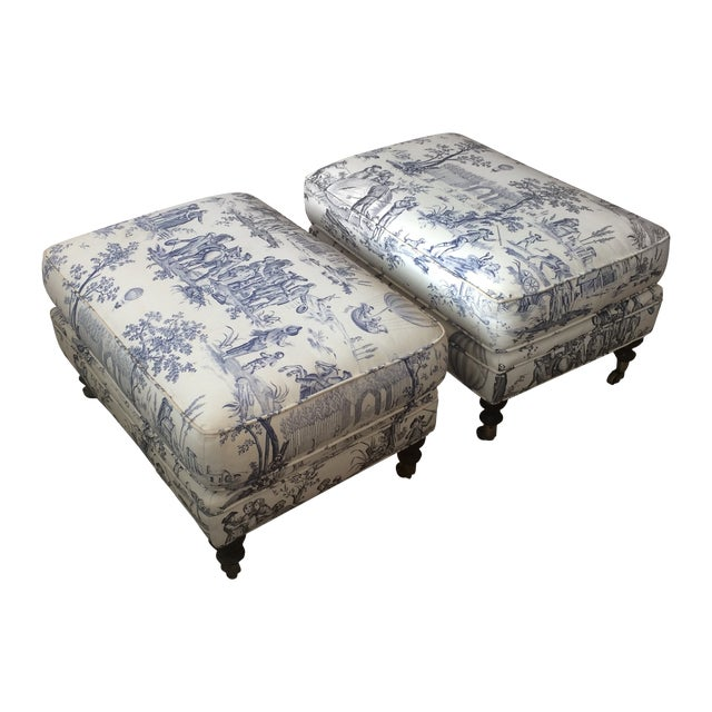 Brunschwig and Fils Toile Ottomans - Pair - Image 1 of 5