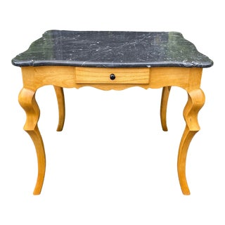 Charles Pollock Biedermeier Syle Marble Top Side Table W Cabriolet Legs For Sale