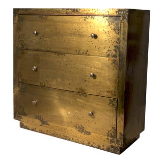 Brass Clad Chest of Drawers For Sale