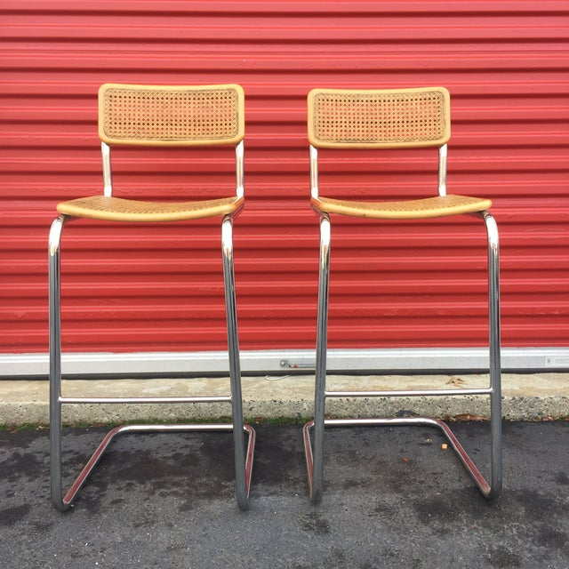 Mid-Century Cane Cesca Bar Stools With Chrome by Marcel Breuer - A Pair - Image 3 of 8