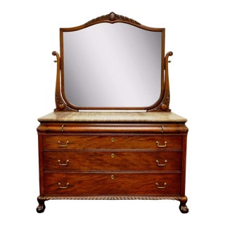 Antique Victorian Marble & Mahogany Dresser & Mirror For Sale
