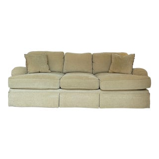 Henredon Tan Chenille Sofa For Sale