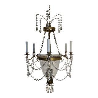 Niermann Weeks Custom Bell Jar Crystal Chandelier For Sale