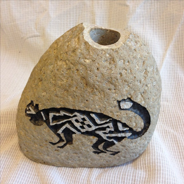 Southwestern Cat Motif Stone Vase by Bill Worthen - Image 4 of 8