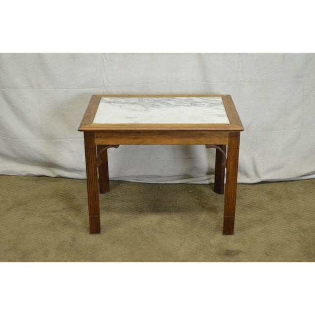 Chippendale Style Custom Walnut Marble Top Side Table For Sale - Image 9 of 11