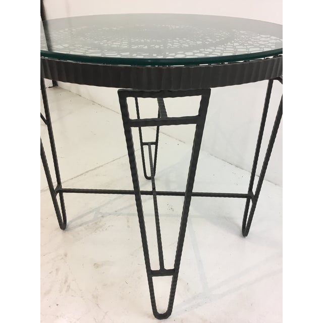 Industrial Industrial Modern Iron/Wire/Glass Round Side Table For Sale - Image 3 of 5