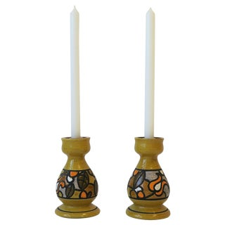Pair of Italian Rosenthal Netter Yellow Pottery Candlestick Holders For Sale