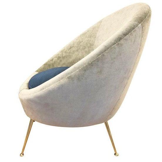 Italian Mid-Century Round Velvet Lounge Chair For Sale - Image 4 of 7