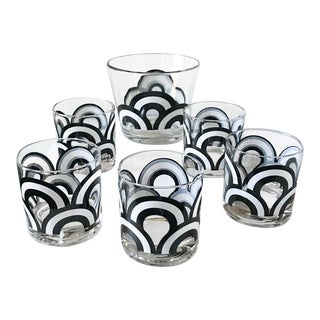 """Mid Century Set of 6 Signed """"Colony"""" Black & White Rainbow Glasses and Ice Bowl"""