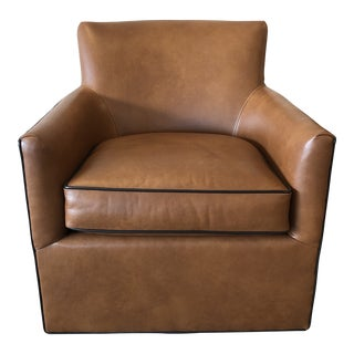 Zander Leather Swivel Chair by Leathercraft For Sale