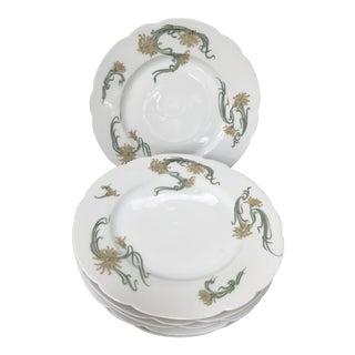 """Antique Haviland Limoges France Art Nouveau """"Spider Mums"""" Dinner Plates- Set of 6 For Sale"""