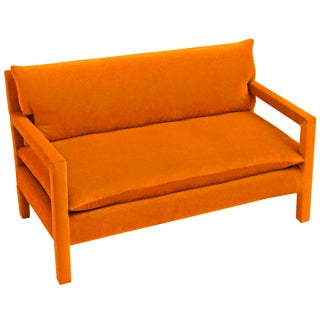Milo Baughman Style Parsons Sofa Reupholstered in Orange Velvet For Sale