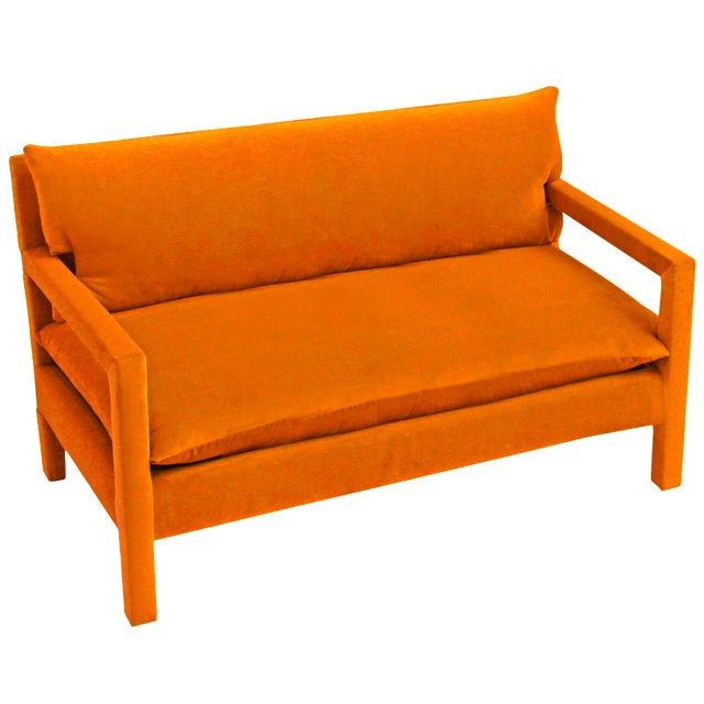 Milo Baughman Style Parsons Sofa Reupholstered in Orange Velvet For Sale