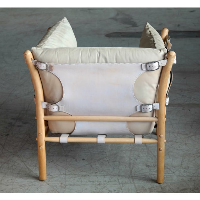 Arne Norell Safari 1960s Chair Model Ilona in Cream and Tan Leather For Sale - Image 9 of 13