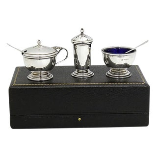 D. 1949 Sterling & Cobalt Cruet Set - 5 Pieces For Sale