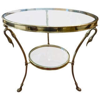 Mid Century Modern Italian Brass and Glass Two Tiered Table For Sale