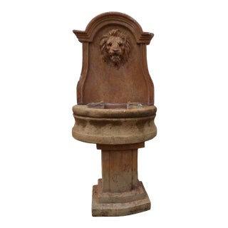 Vintage Stone Lion Fountain For Sale