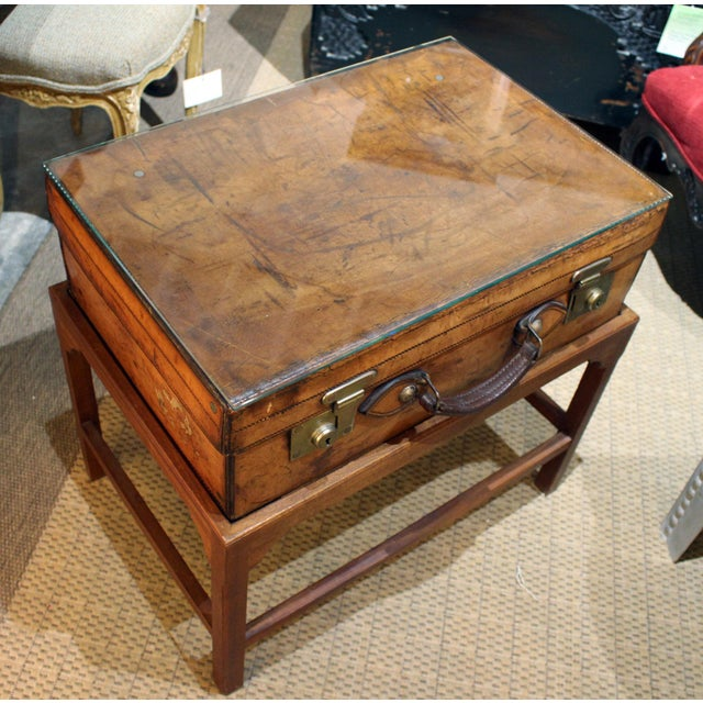 English Leather Suitcase on Stand For Sale - Image 4 of 7