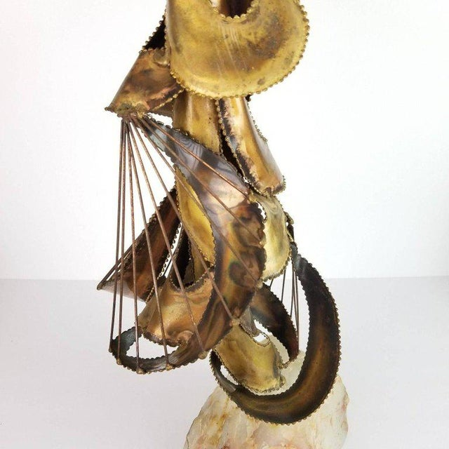 Mid-Century Brutalist Brass & Stone Abstract Sculpture For Sale - Image 9 of 13