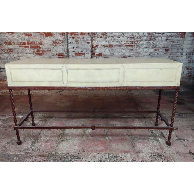 """Vintage Wrought Iron & Leather top Sofa table Console. size 54 x 17 x 28"""" A beautiful piece that will add to your décor!"""