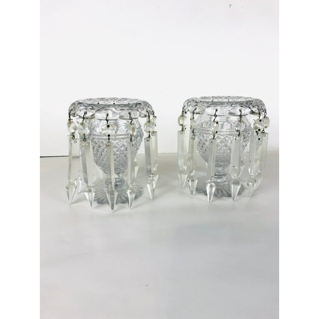 Traditional Vintage Crystal Girandoles /Luster Candle Holders - a Pair For Sale - Image 3 of 12